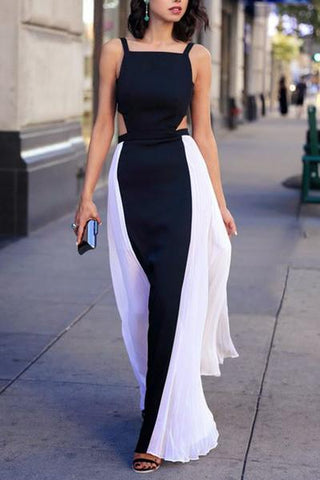 Elegant black & white chiffon long prom dresses summer dress with straps