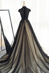 Black tulle cap sleeves floor-length long prom dresses luxury dresses JS875