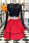 Beautiful red satins black lace long sleeves two pieces short Homecoming dress casual dresses
