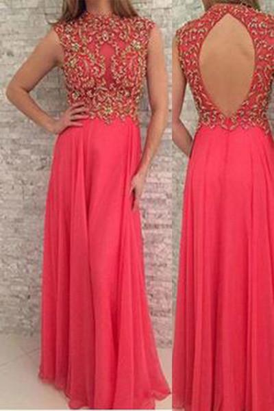 Coral chiffon high neck sequin long prom dress evening dress