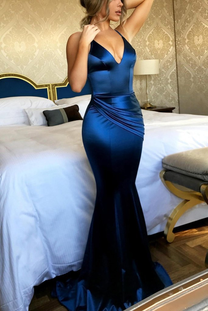 Navy Blue New Mermaid V Neck Shirt Dress Long Criss-Cross Sexy Prom Dreses JS626