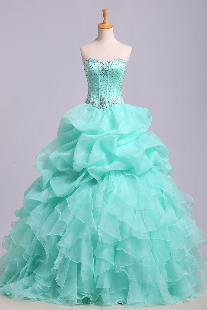 Ball Gown Sweetheart Organza Beads Lace up Ruffles Tiffany Blue Prom Quinceanera Dresses JS178