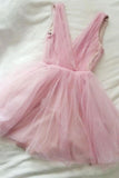 A Line Pink V Neck Tulle V Back Cute Short Prom Dresses Homecoming Dresses UK JS884