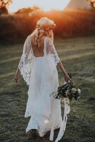 Rustic Batwing Sleeve Lace Ivory Wedding Dresses Ivory Sheath Boho Wedding Dresses W1059