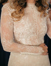 Rustic Sheath Long Sleeves Wedding Dress With Lace Beading Vintage Beach Bridal Dress W1003