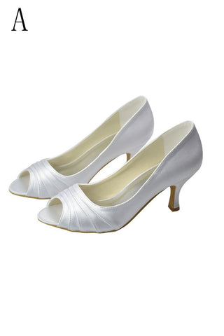 Beautiful White Peep Toe High Heel Handmade Comfy Wedding Shoes JS0002