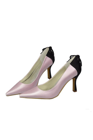Beautiful Pink And Black Handmade Close Toe Women Shoes For Prom JS0004