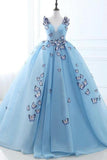 Ball Gown Long Sky Blue Butterfly V Neck Appliques Lace up Prom Quinceanera Dresses JS848