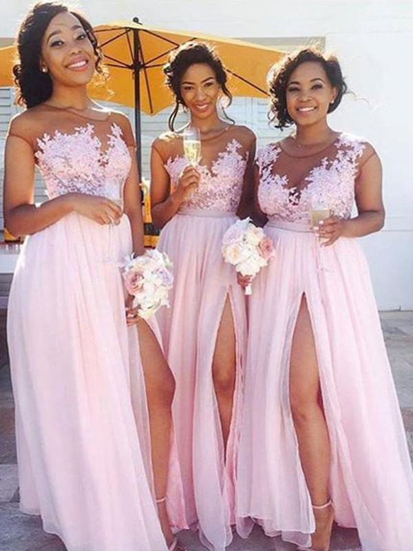 A-Line Pink Princess High Slit Scoop Sleeveless Lace Applique Chiffon Bridesmaid Dresses JS316