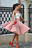 A Line Spaghetti Straps Sweetheart Blush Pink with Pleats Short Homecoming Dresses JS06