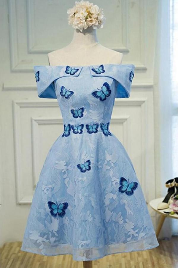 Cute A Line Sky Blue Lace Butterfly Appliques Off the Shoulder Homecoming Dresses JS977