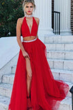 A Line Red Two Pieces V Neck Beads High Neck Slit Tulle Long Prom Dresses JS57