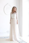 Scoop Neck Long Sleeve Tulle Wedding Dress With Lace Bodice V Back Wedding Gowns PW512