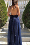 Sexy A Line Spaghetti Straps Deep V Neck Dark Navy Sequins Backless Long Prom Dresses P1020