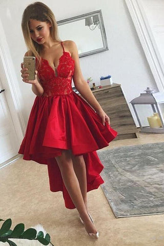 Sexy High Low Red Spaghetti Straps V Neck Homecoming Dresses Short Cocktail Dresses H1183