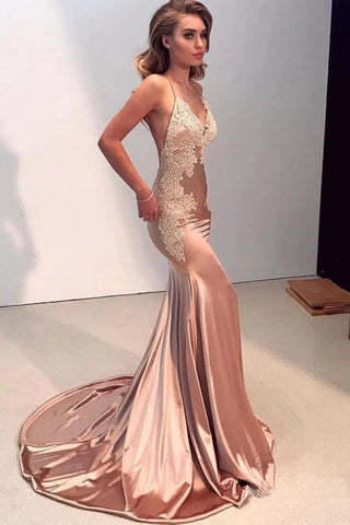 Sexy Mermaid Backless Prom Dress V Neck Long Lace Spaghetti Straps Evening Dresses