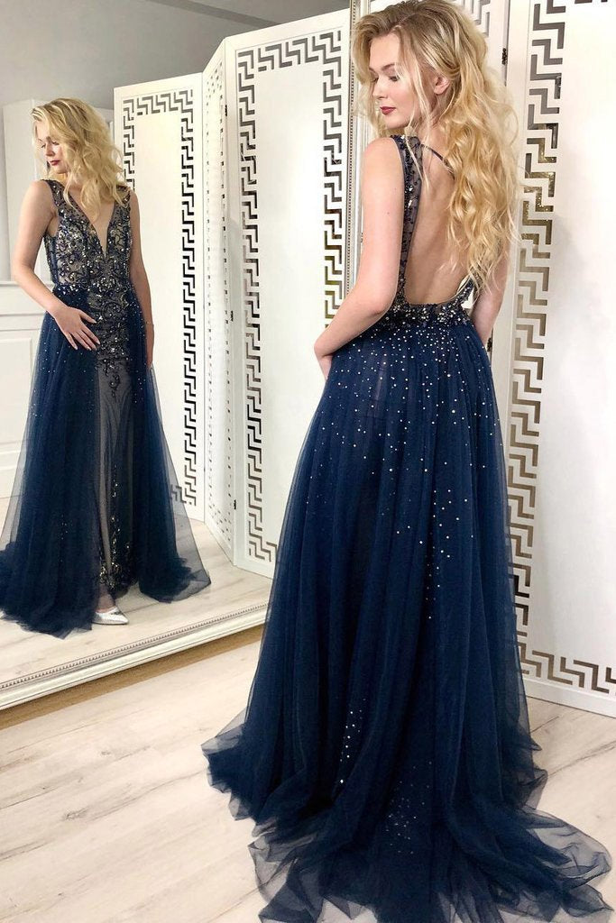 Sexy Navy Blue Tulle Sequins V Neck Prom Dresses Long Backless Formal Prom Dress JS799