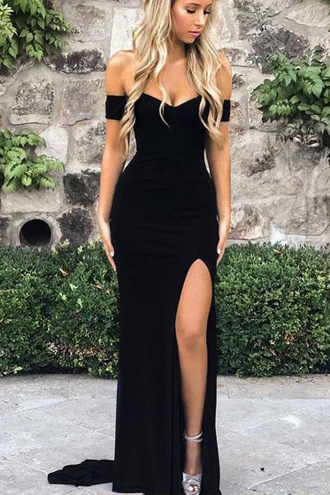 A Line Off the Shoulder Black Evening Dresses Mermaid Prom Dresses with Side Slit