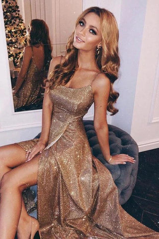 Sexy Spaghetti Straps Backless Sequined Prom Dresses with Split Scoop Evening Dresses P1126