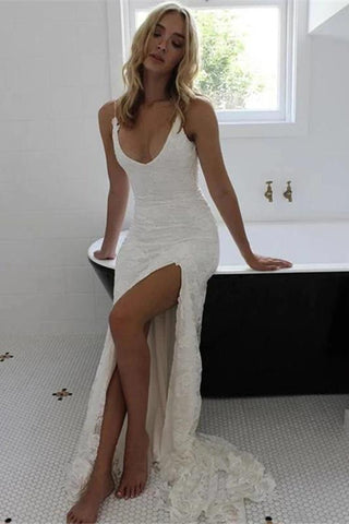 Sexy Spaghetti Straps V Neck Mermaid Ivory Wedding Dresses Beach Simple Bridal Dresses W1044