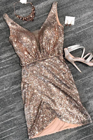 Sexy V Neck Sheath Sequins Straps Rose Gold Homecoming Dresses Cocktail Dresses H1280