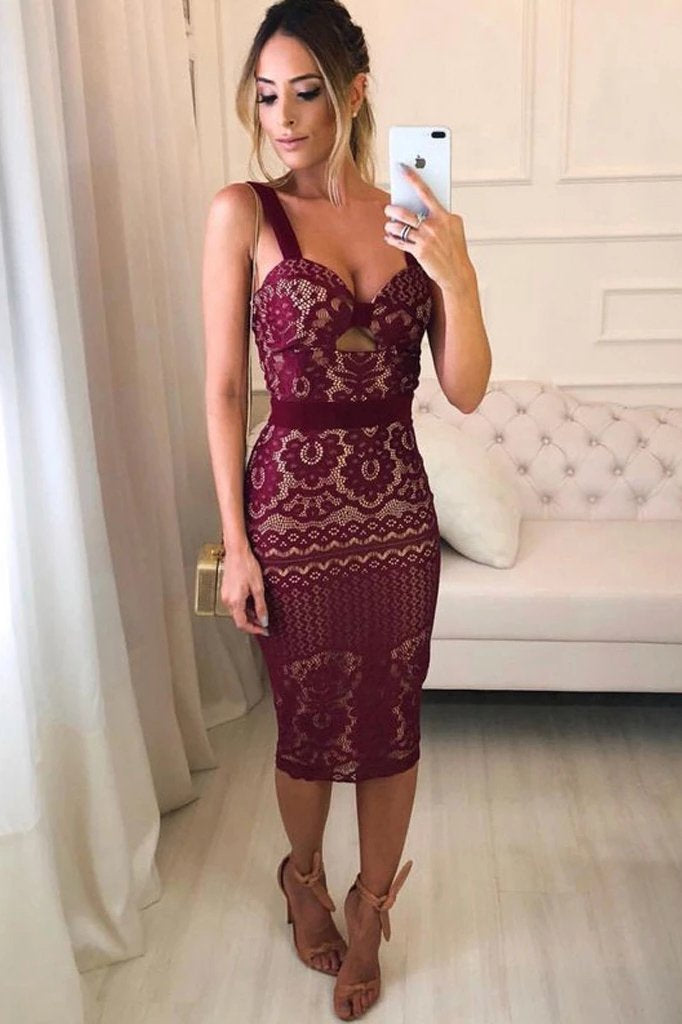 Sheath Spaghetti Straps V Neck Burgundy Knee Length Homecoming Dresses Bridesmaid Dress P1084