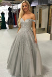 Shiny Ball Gown Off the Shoulder Sweetheart Silver Beaded Tulle Prom Dresses PW981