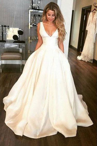 Simple A-Line V Neck Open Back Ivory Satin Wedding Dresses with Straps Pockets W1080