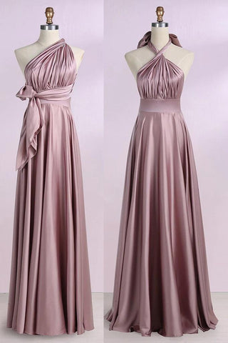 Simple New Arrival Backless Satin Long Bridesmaid Dresses Evening Party Dresses BD1008