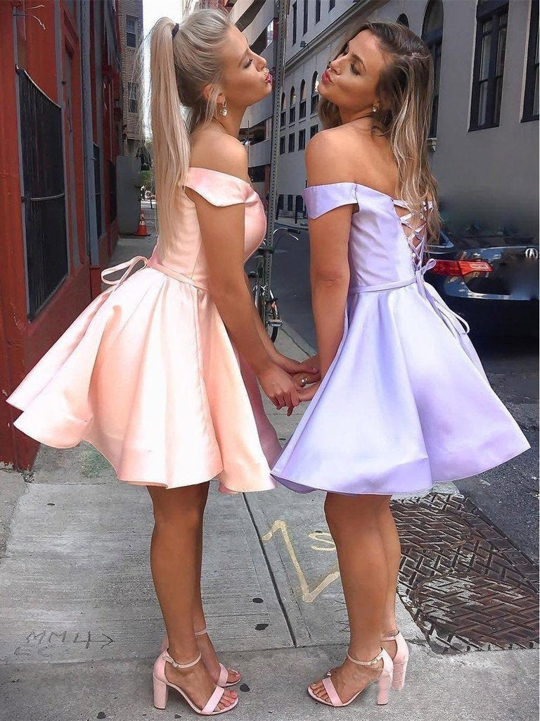 Simple Off the Shoulder Pink Homecoming Dresses Cheap Lace up Homecoming Dress H1030