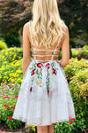 Simple Short Lace White Homecoming Dress with Appliques V Neck Short Prom Dress JS735