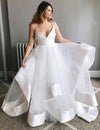 Simple Spaghetti Straps V Neck Wedding Dress Tulle Ruffles Backless Bridal Gowns