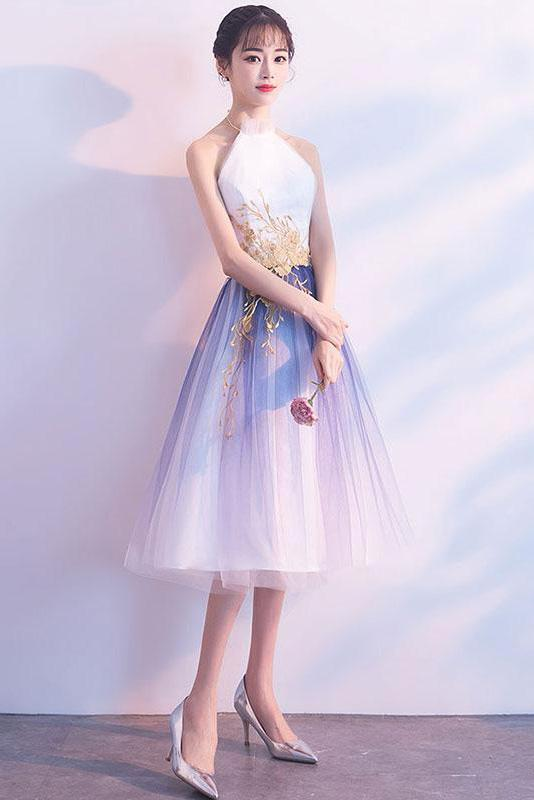 Simple Tulle White and Blue Ankle Length Halter Backless Sleeveless Graduation Dresses H1005