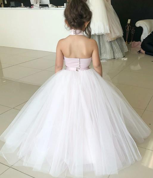 Simple Two Piece Ball Gown Halter Blush Pink Flower Girl Dresses with Appliques JS881