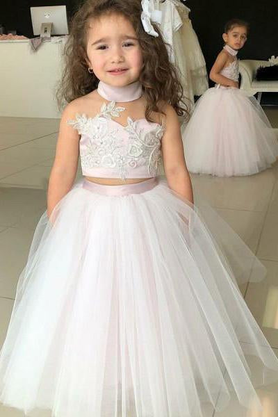 Simple Two Piece Ball Gown Halter Blush Pink Flower Girl Dresses with Appliques PW881