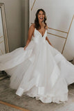 Hot Sale Charming Long V Neck Wedding Dresses