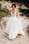 Spaghetti Strap Beaded Wedding Dress Ivory Chiffon V Neck Rustic Wedding Dresses PW478