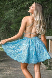 Spaghetti Straps Backless Lace Homecoming Dress Short Lace Graduation Dresses H1213
