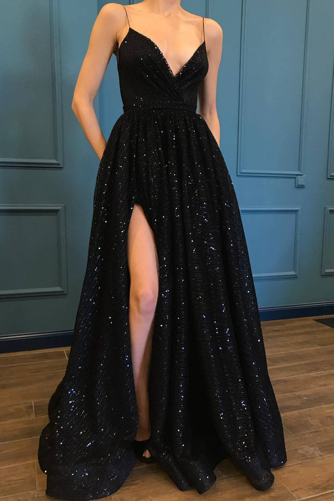 A Line Spaghetti Straps Black Sparkle Long Prom Dresses with Pockets V Neck Sequins Slit JS475
