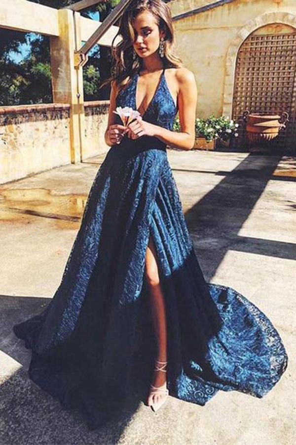 Spaghetti Straps V Neck Lace Prom Dress with Split Side Backless Long Formal Dresses P1120