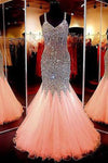 Beauty sweetheart neckline mermaid open back beading pageant formal dresses JS861