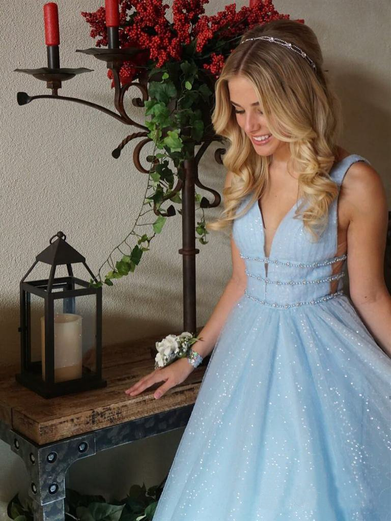Sparkly Deep V Neck Long Beaded Backless Light Blue Prom Dresses Cheap Party Dress JS982