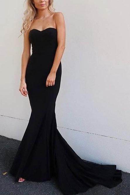 Strapless Mermaid Prom Gowns with Sweep Train Navy Blue Backless Prom Dresses JS488