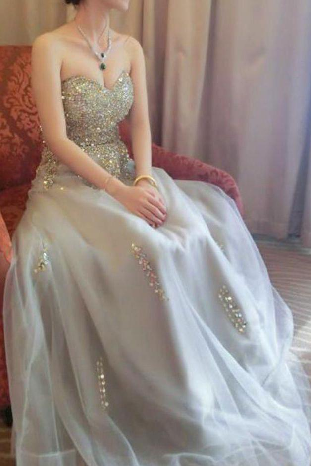 Sweetheart A line Beads Strapless Grey Tulle Lace up Prom Dresses, Party Dresses uk PW412
