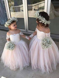 Cute Off the Shoulder Long Sleeve Pink Lace Appliques Tulle Flower Girl Dresses JS289