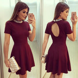 Cute Burgundy High Neck Short Sleeve Keyhole Back Beading Cheap Homecoming Dresses JS940