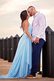 Thigh Split Sky Blue Rustic Wedding Dresses Beach Wedding Gown with Court Train W1016