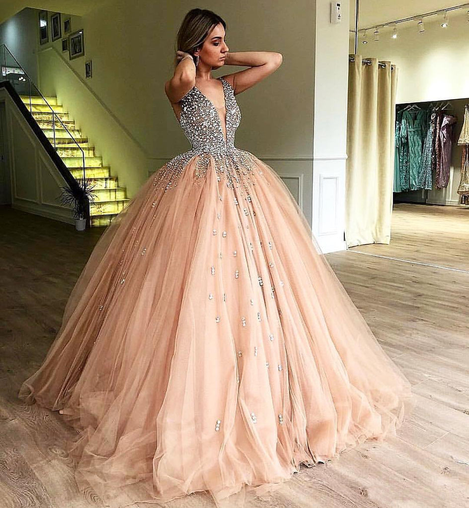 Unique Ball Gown V Neck Sleeveless Beading Tulle Prom Dresses Quinceanera Dress JS989