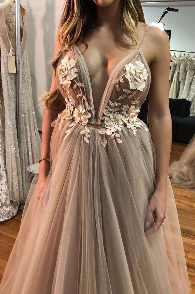 Unique Floral Embroidered V Neck Backless Spaghetti Straps Prom Dresses with Flowers PW974