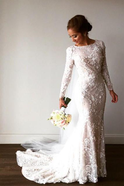 Unique Long Sleeve Mermaid Lace Wedding Dresses with Beads, Wedding Gowns PW828